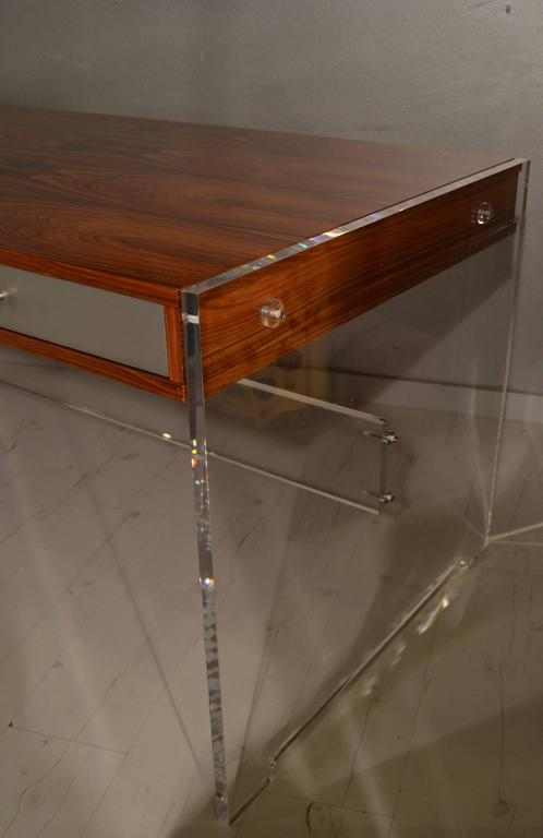 Aluminum Poul Norreklit Desk in Rosewood and Lucite For Sale