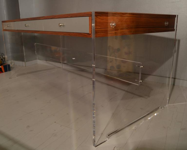 Mid-Century Modern Poul Norreklit Desk in Rosewood and Lucite For Sale