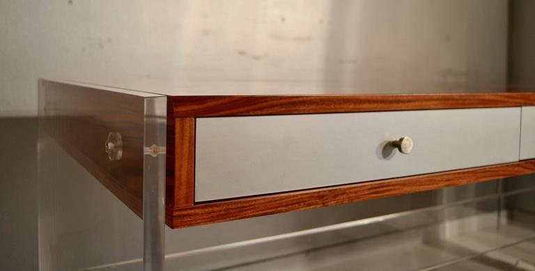Poul Norreklit Desk in Rosewood and Lucite In Excellent Condition For Sale In Saint-Ouen, FR