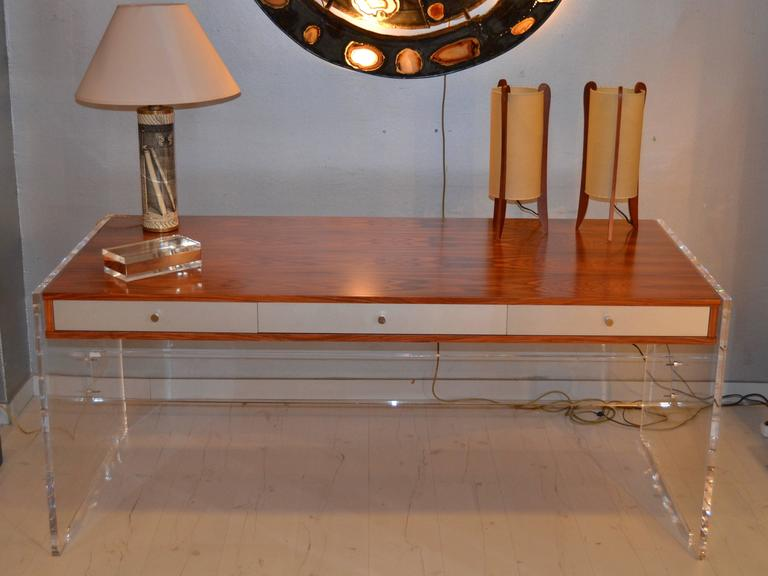 1970s rosewood and Lucite desk with chromed steel drawers.