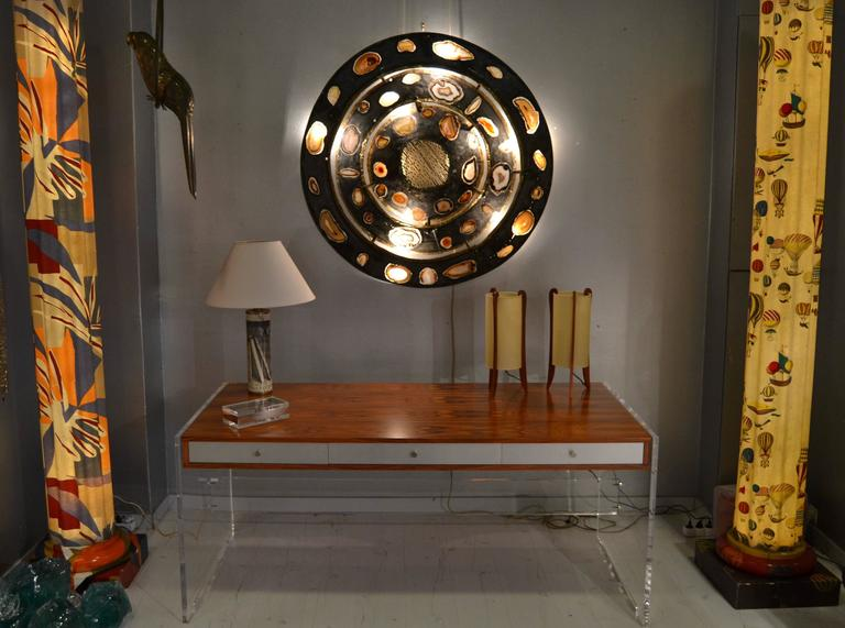 Late 20th Century Poul Norreklit Desk in Rosewood and Lucite For Sale