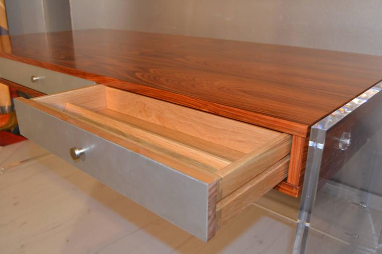 Poul Norreklit Desk in Rosewood and Lucite For Sale 1