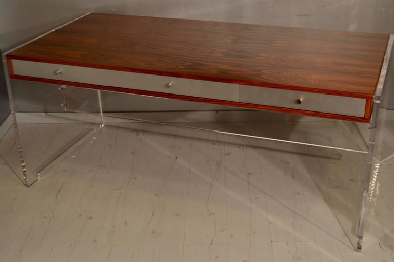 Danish Poul Norreklit Desk in Rosewood and Lucite For Sale