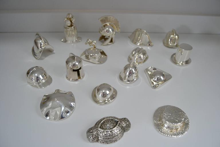 Mid-Century Modern Collection of Hats in Silvered Bronze