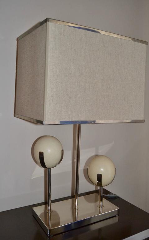 Large 1970s Chromed Steel And Ostrich Egg Shell Lamp For