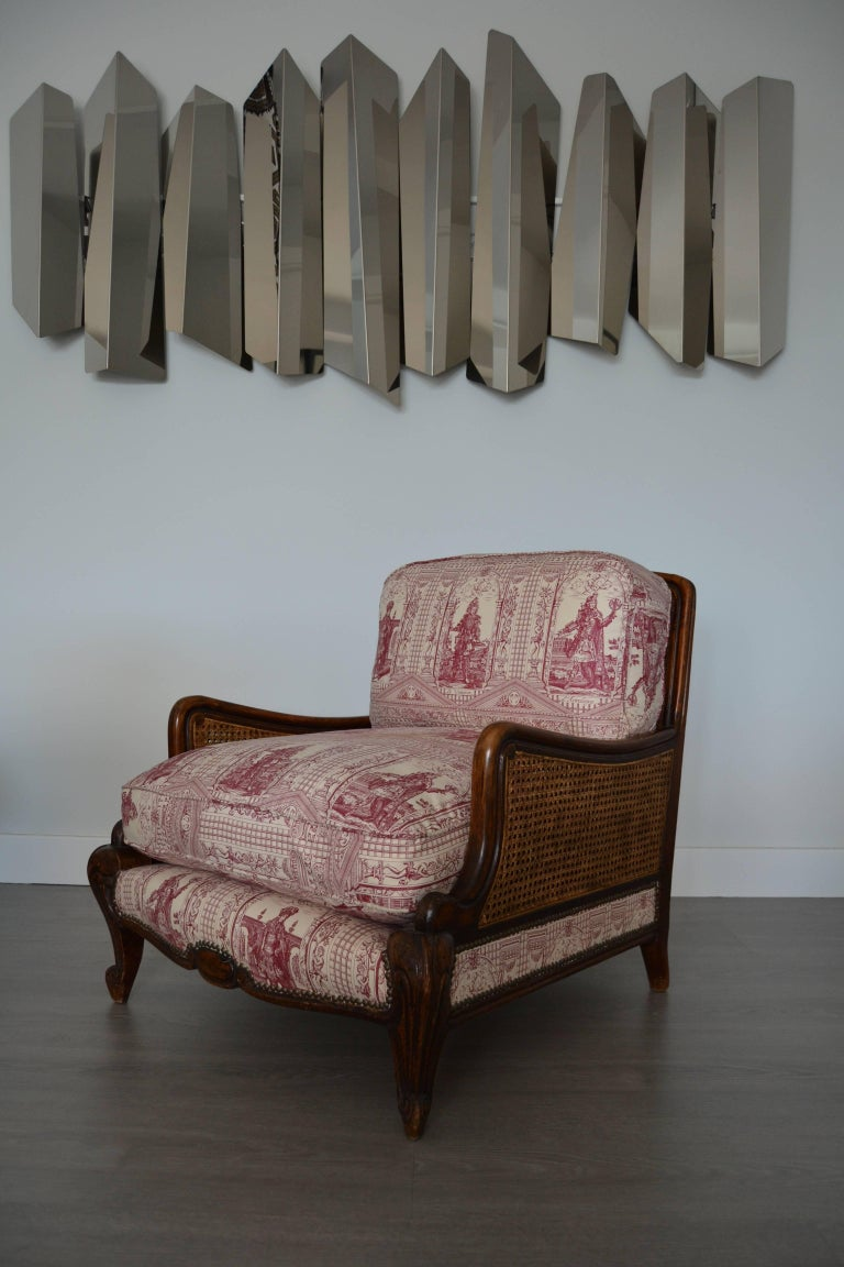 French Provincial Wood and Wicker French Armchair, 1900 For Sale