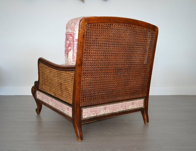 Wood and Wicker French Armchair, 1900 For Sale 3