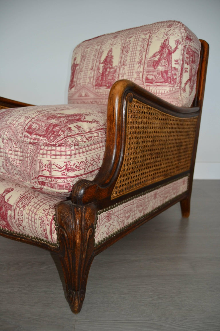 Wood and Wicker French Armchair, 1900 In Good Condition For Sale In Saint-Ouen, FR