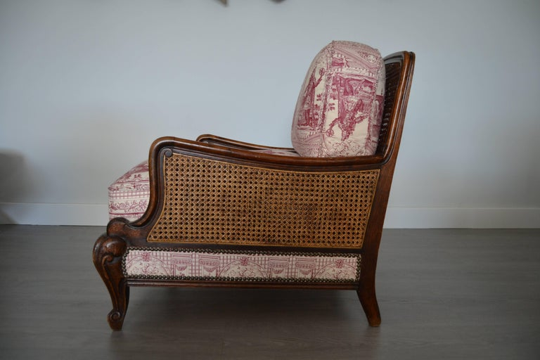 Early 20th Century Wood and Wicker French Armchair, 1900 For Sale
