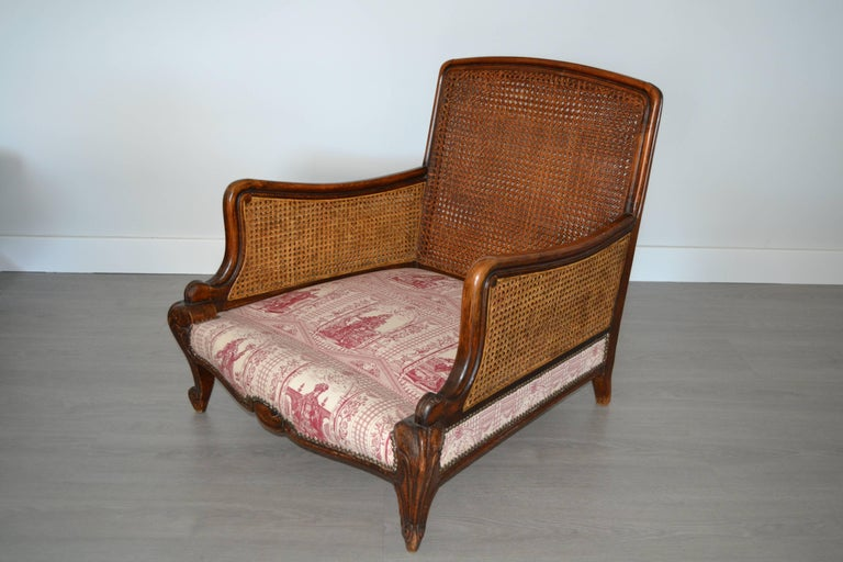 Fabric Wood and Wicker French Armchair, 1900 For Sale