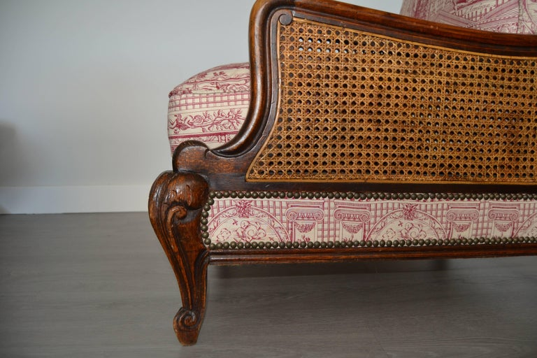 Wood and Wicker French Armchair, 1900 For Sale 1