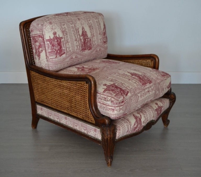 Wood and Wicker French Armchair, 1900 For Sale 2