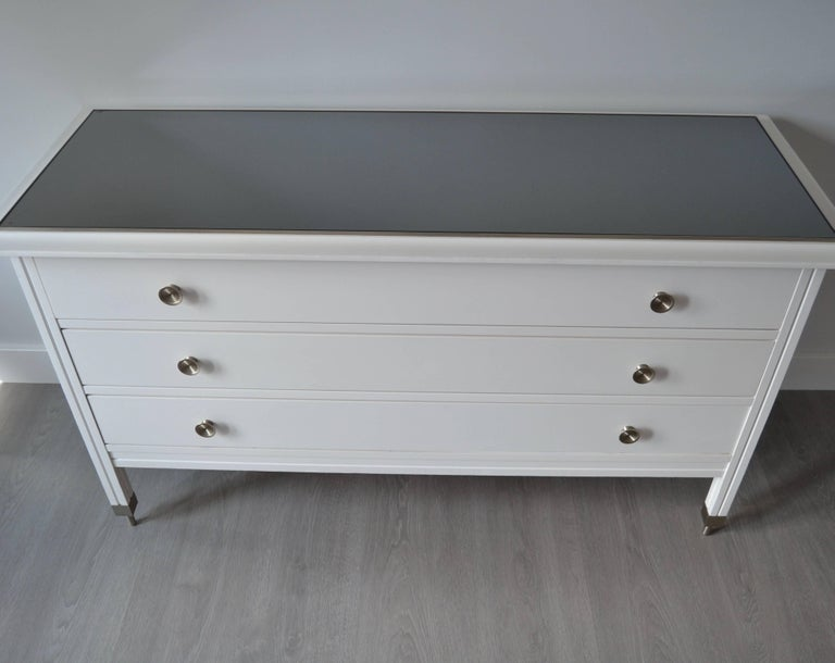 Stainless Steel 1960s, Maison Jansen White Lacquered Chest