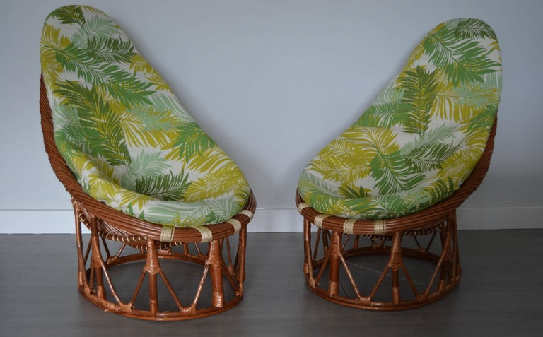 Pair of bambou and rattan handmade armchairs.