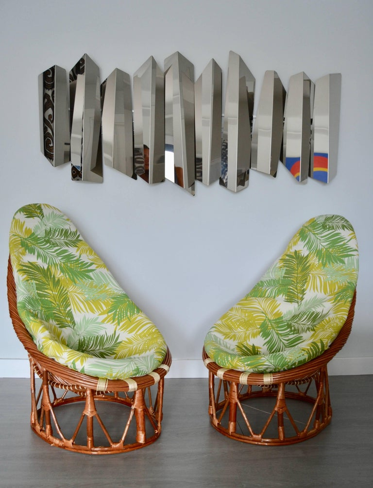 1980s Pair of Bambou and Rattan Armchairs In Excellent Condition For Sale In Saint-Ouen, FR