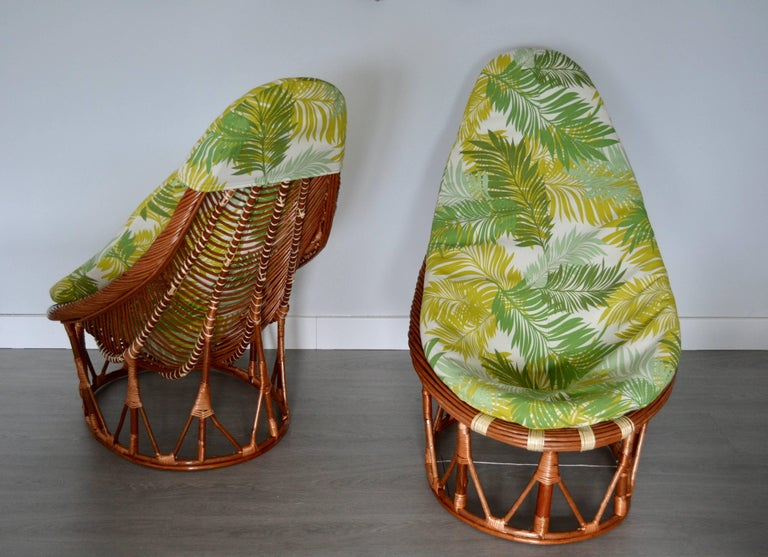 Late 20th Century 1980s Pair of Bambou and Rattan Armchairs For Sale