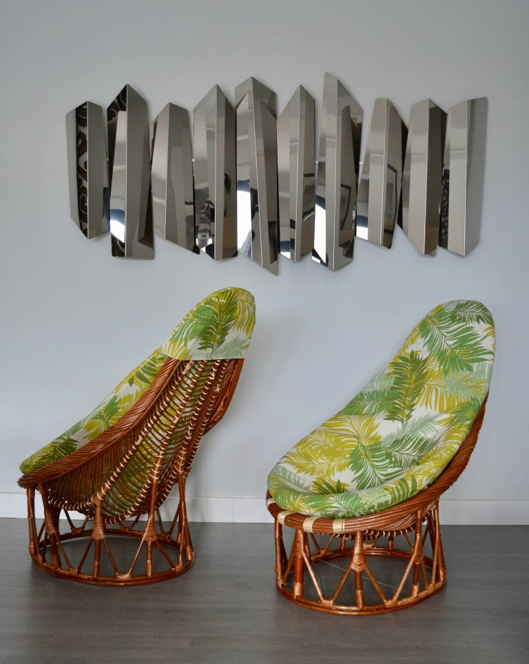 Bamboo 1980s Pair of Bambou and Rattan Armchairs For Sale