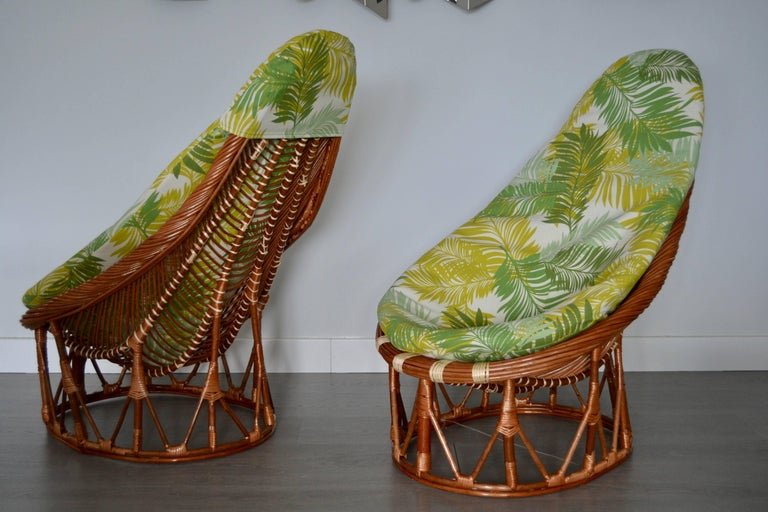 Mid-Century Modern 1980s Pair of Bambou and Rattan Armchairs For Sale