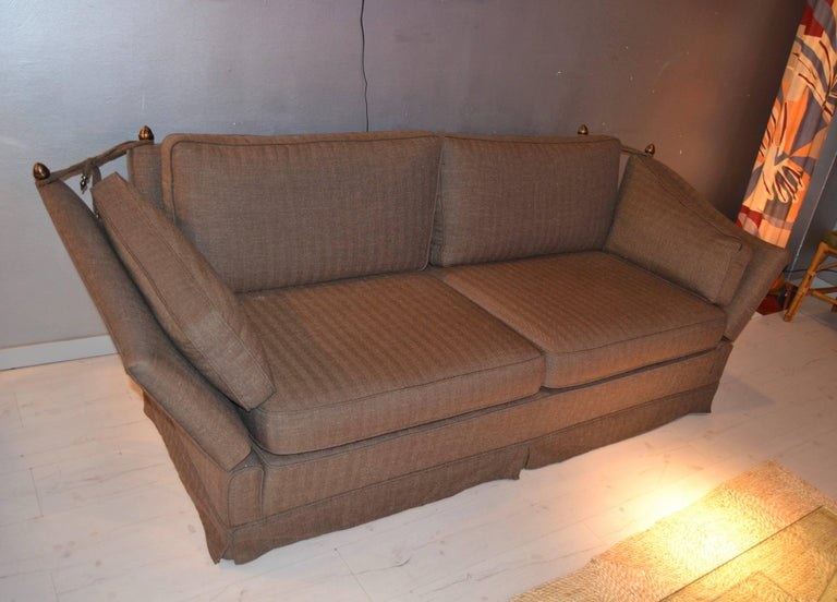 Maison Jansen neoclassical sofa with bronze details, circa 1970, France perfect condition  Brown elegant fabric.