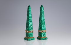 Russian Malachite Obelisks and Gilt Bronze, 19th Century
