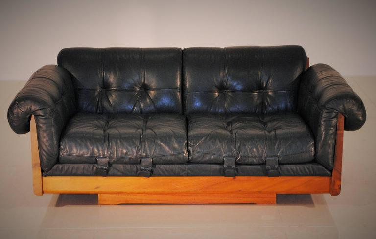 Ultra Low Leather Lounge Sofa By Soto, Costa Rica, 1970s 2