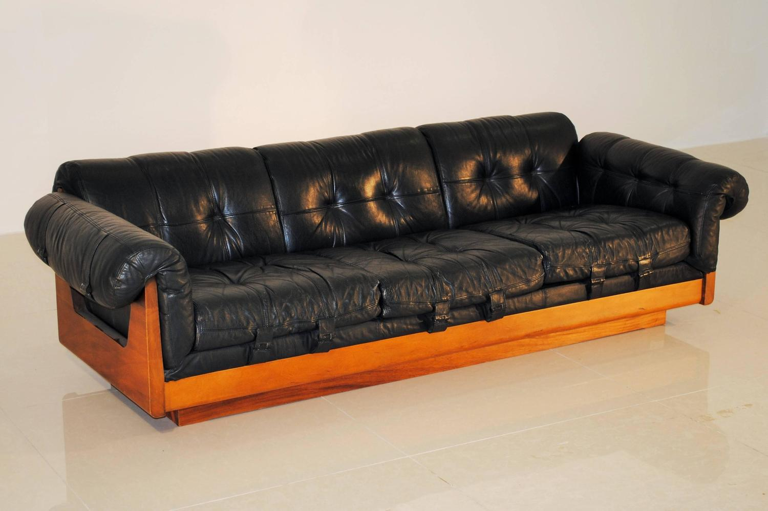 Superb Low Three Seat Leather Sofa by Soto Costa Rica