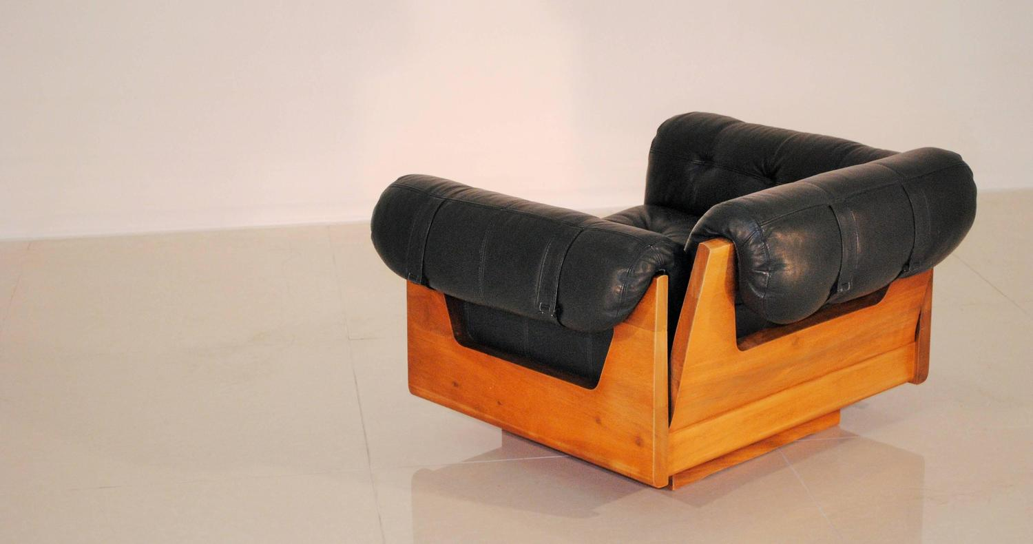 Low Leather Lounge Chair by Soto COSTA Rica 1970s at 1stdibs
