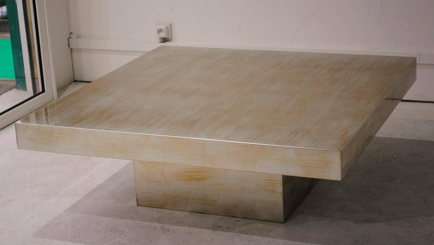 Large Scale Silver Leaf And Gold Coffee Table By Cyrus