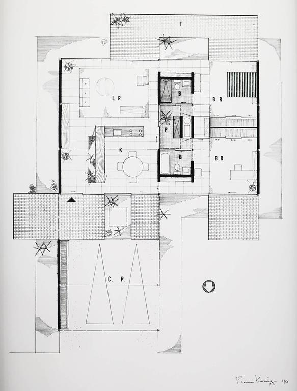 Pierre Koenig, Floor Plan of Case Study House 21, Framed ...