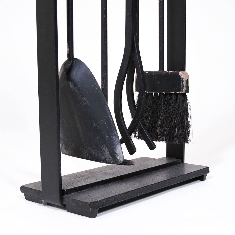 Vintage Modernist Black Cast Iron Fire Place Tool Set For