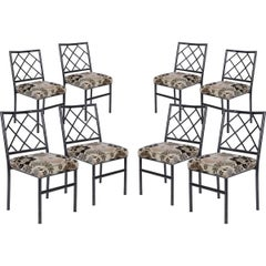 Set of Eight Cast Metal Bamboo Dining Chairs
