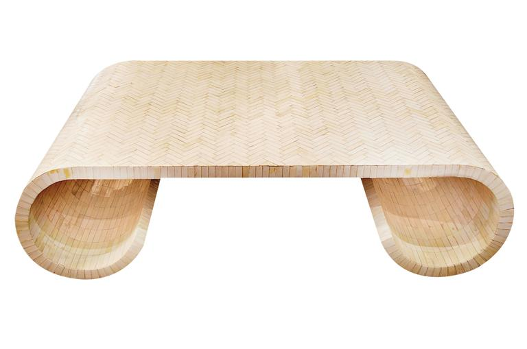 scrolled bone inlay coffee table attributed to karl springer at