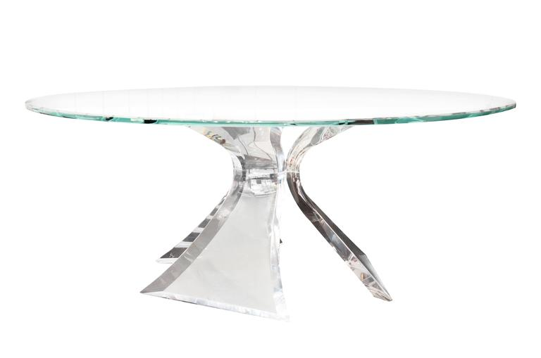 Lucite dining table by lion in frost 1983 signed for - Congelateur table top no frost ...