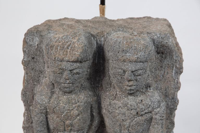 Pair of Custom Stone Fragment Lamps  In Good Condition For Sale In Pasadena, CA