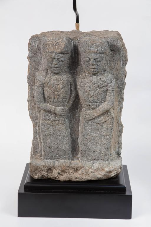Central American Pair of Custom Stone Fragment Lamps  For Sale