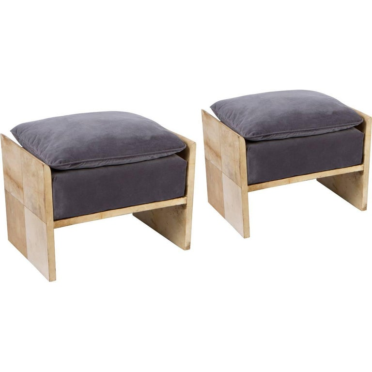 Pair of Parchment Benches in the Manner of Jean Michel Frank