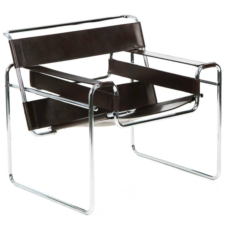 mid century modern tubular leather lounge wassily chair marcel breuer at 1stdibs. Black Bedroom Furniture Sets. Home Design Ideas