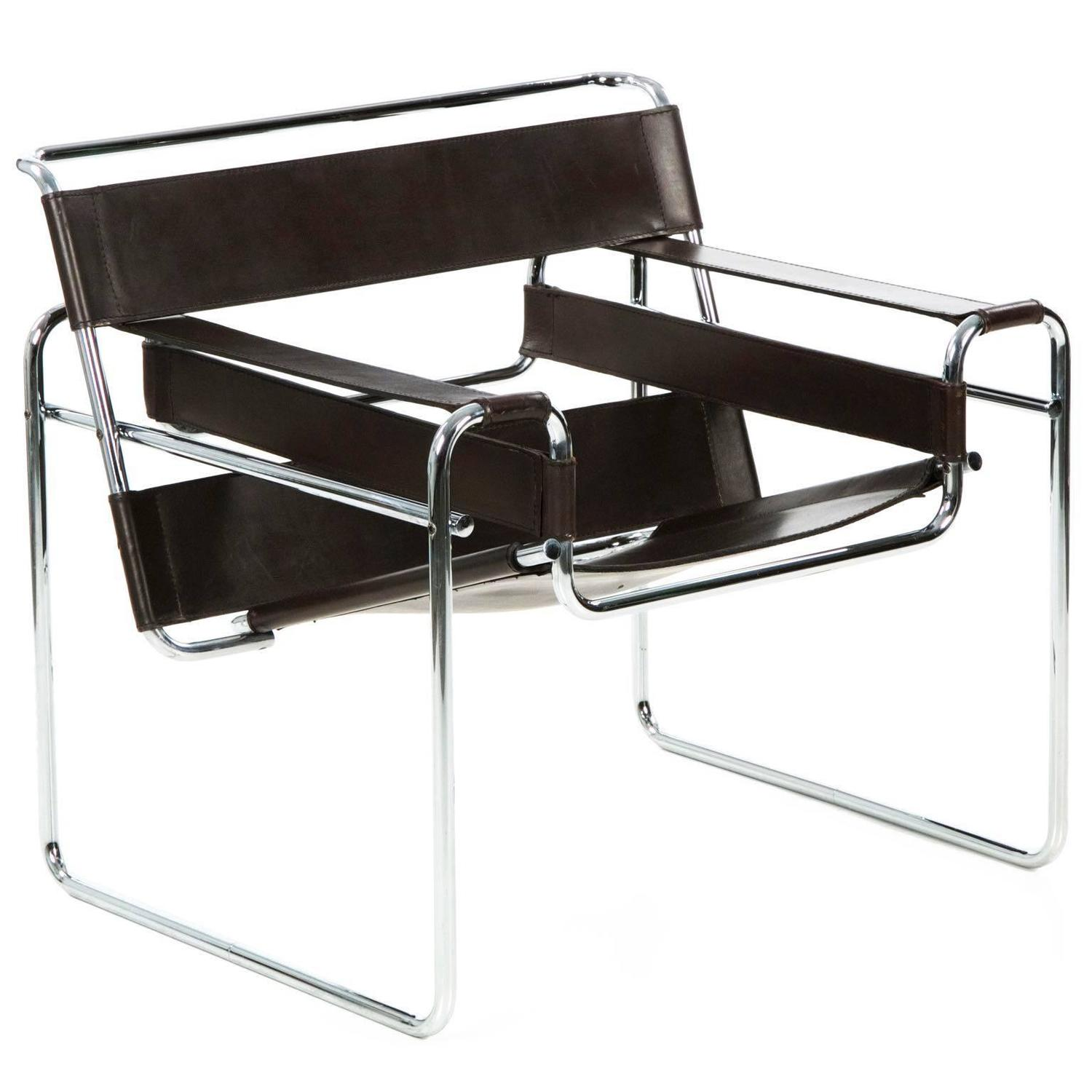 Century modern tubular leather lounge quot wassily quot chair marcel breuer