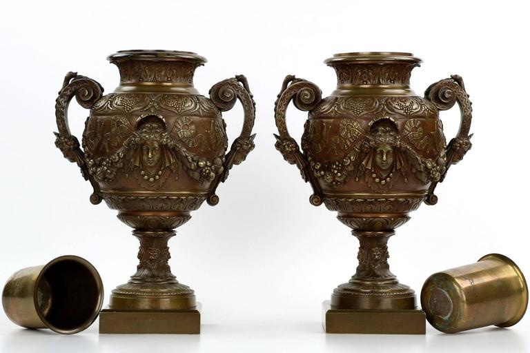 Pair Of French Napoleon Iii Antique Bronze Garniture Urn Vases 19th