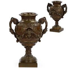 Pair of French Napoleon III Antique Bronze Garniture Urn Vases, 19th Century