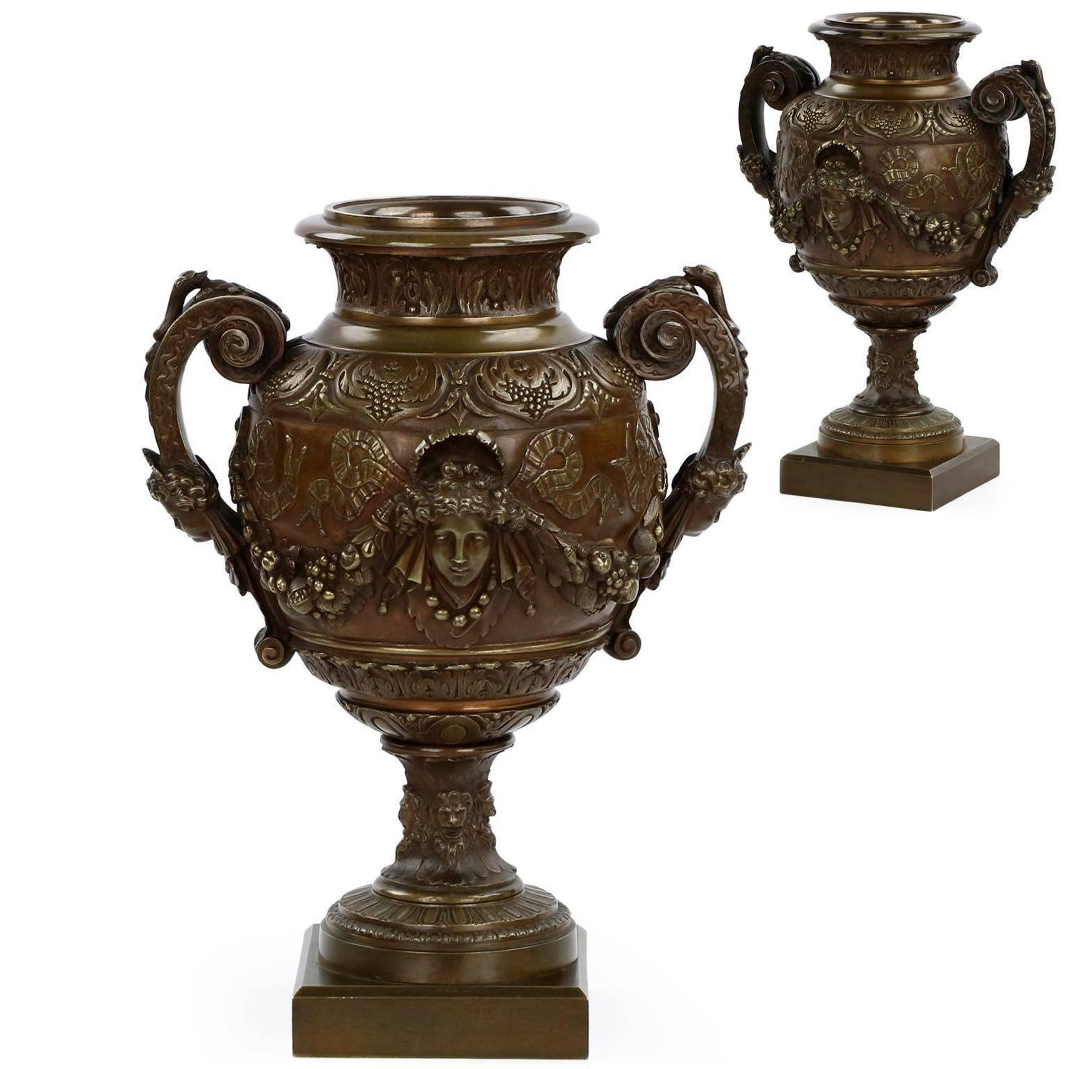 Pair of french napoleon iii antique bronze garniture urn vases pair of french napoleon iii antique bronze garniture urn vases 19th century for sale at 1stdibs reviewsmspy