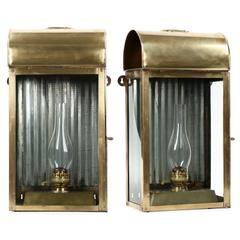 Pair of English Domed Brass Hanging Wall Oil Lamp Lanterns, 19th Century