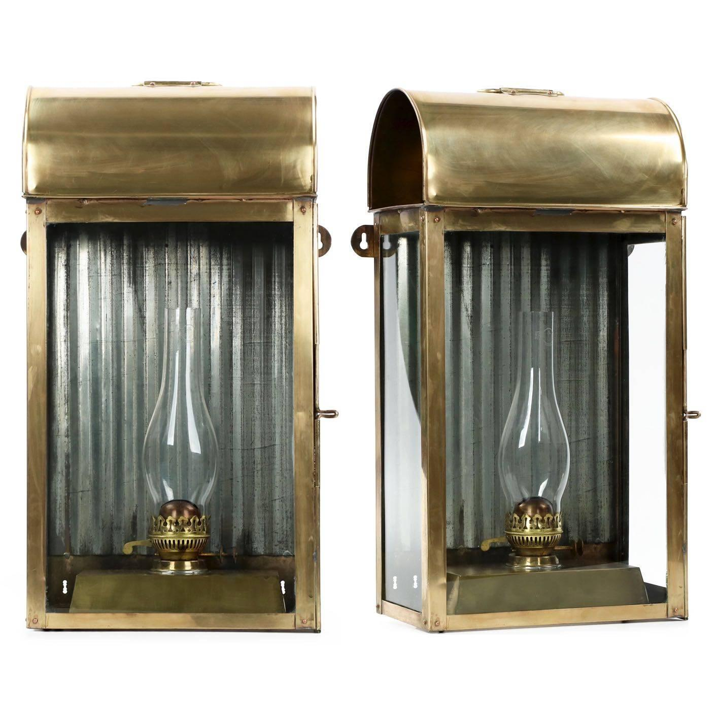 Pair of English Domed Brass Hanging Wall Oil Lamp Lanterns, 19th Century at 1stdibs