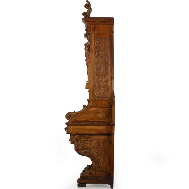 Italian Renaissance Revival Antique Secretary Desk With Bookcase 19th Century In Distressed Condition For