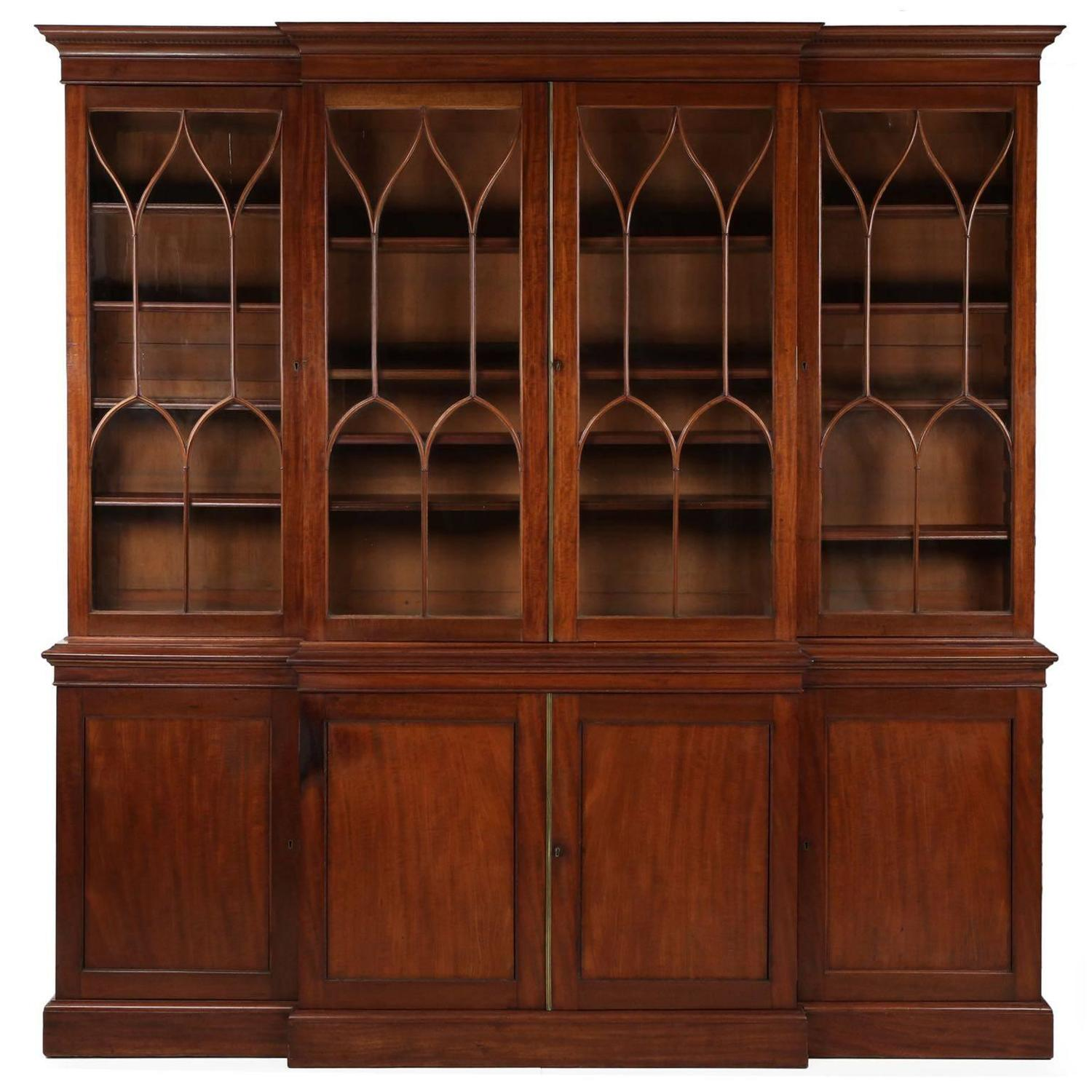 American Federal Mahogany Library Bookcase Breakfront