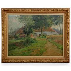 "Fine Belgian Landscape Painting ""Cottage by Lake"" by Léon Riket"