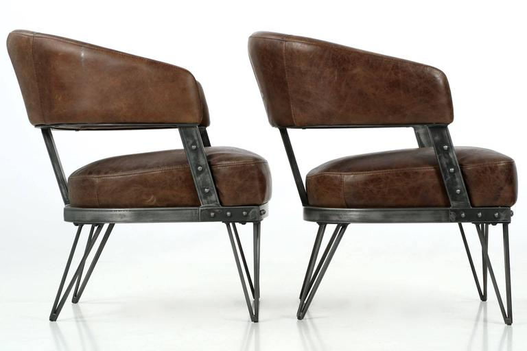 Modern Pair of French Industrial Style Leather and ...