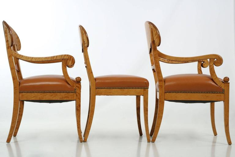 Fine Set Of Six Biedermeier Style Birch And Leather Dining