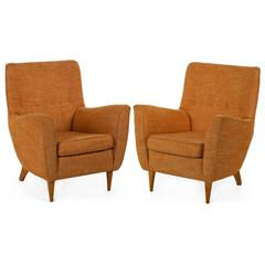 Pair of Vintage Mid-Century Modern Sculpted Lounge Armchairs