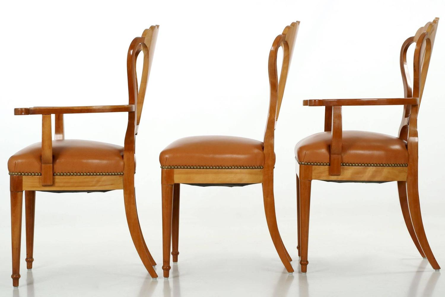 Set of Six Art Deco Style Fruitwood and Leather Dining ...